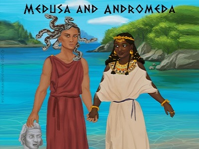 Medusa and Andromeda of Aethiopia stand on the bank of the Aegean